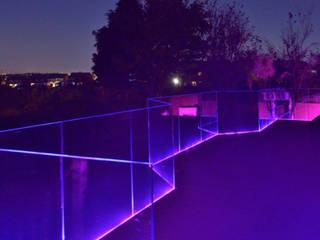 Frameless Glass Balustrade Origin Architectural Taman zen Kaca Purple/Violet