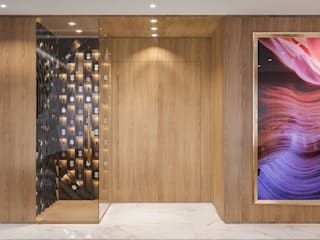 Camila Pimenta | Arquitetura + Interiores Pasillos, vestíbulos y escaleras de estilo moderno Madera Beige
