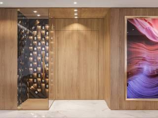 Camila Pimenta | Arquitetura + Interiores Koridor & Tangga Modern Kayu Beige