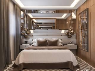 Camila Pimenta | Arquitetura + Interiores Kamar tidur kecil Kayu Grey