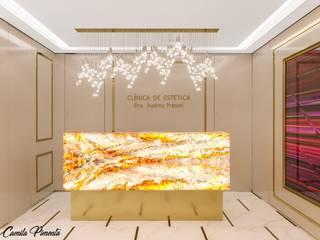 Camila Pimenta | Arquitetura + Interiores Ruang Studi/Kantor Modern Kayu Beige
