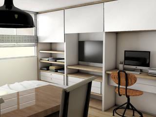 DISEÑO INTERIOR APARTAESTUDIO Plano 13 Habitaciones pequeñas Aglomerado Blanco
