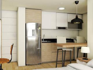 DISEÑO INTERIOR APARTAESTUDIO Plano 13 Cocinas pequeñas Aglomerado Blanco
