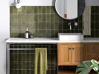 Equipe Ceramicas Eclectic style bathroom Tiles Green