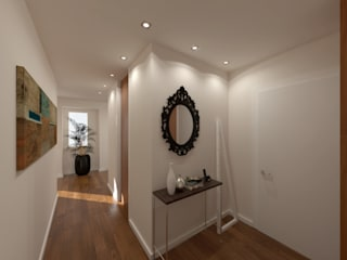 Linhas Simples Modern Corridor, Hallway and Staircase