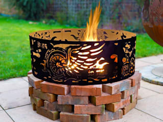 Fire Pit Ring Born To Ride – for those who were Born to Ride. Another fantastic creation- a new art firepit- by Logi Firepits UK. The perfect gift for him- for your husband, fiancé for the wedding, son for his birthday, or Father's Day. Motorbike Logi Engineering Limited Garden Fire pits & barbecues Besi/Baja Black