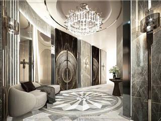 Grand & Modern Luxury @ Cairnhill Plaza Singapore Carpentry Interior Design Pte Ltd Modern corridor, hallway & stairs Marble White