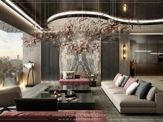 Grand & Modern Luxury @ Cairnhill Plaza Singapore Carpentry Interior Design Pte Ltd Modern living room Stone Black