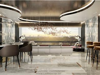 Grand & Modern Luxury @ Cairnhill Plaza Singapore Carpentry Interior Design Pte Ltd Modern dining room Marble White