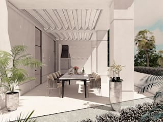 Michele Mantovani Studio Balcone, Veranda & Terrazza in stile classico Pietra Beige