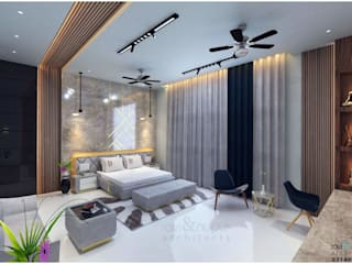 RAVI - NUPUR ARCHITECTS Modern style bedroom Stone White