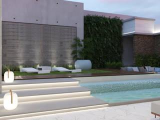 Proyecto VA Diaf design Piscinas de jardín Concreto Gris