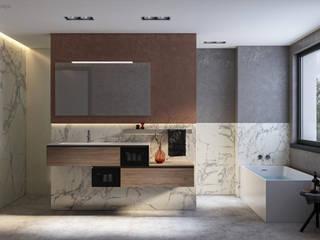 Badezimmer Interior Design und 3D Visualisierung / Tageslichtbad GRIFFEL 3D DESIGN Moderne Badezimmer
