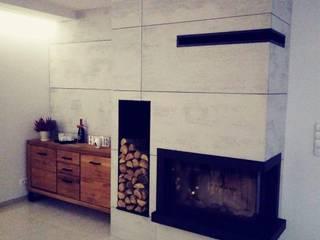 Płyty z betonu architektonicznego na kominku Luxum SalonKominek i akcesoria Beton Szary