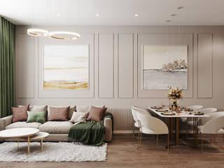 Студия архитектуры и дизайна Дарьи Ельниковой Minimalistische Wohnzimmer