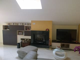 Seven Project Studio Modern living room Wood Multicolored