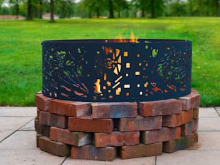 Fire Pit Ring UK Star Wars DØ0.9m Firepit Patio Heater Garden Metal for Christmas Bonfire Outdoor Party Gift for him Death Star Darth Vader Logi Engineering Limited Garden Fire pits & barbecues Iron/Steel Black