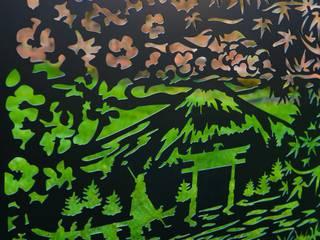 Fence Panel Privacy Screen Mount Fuji - Garden Screen Patio Divider Outdoor Laser Cut Metal Fencing UK Balustrade Railing Balcony Deck Logi Engineering Limited Garden Fencing & walls Iron/Steel Black