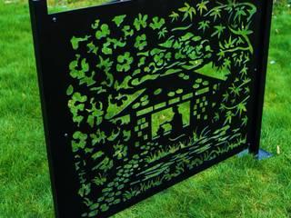 Fence Panel Privacy Screen Tea Ceremony - Garden Screen Patio Divider Outdoor Laser Cut Metal Fencing UK Balustrade Railing Balcony Deck Logi Engineering Limited Garden Fencing & walls Iron/Steel Black