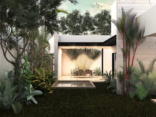 Heftye Arquitectura Balcone, Veranda & Terrazza in stile moderno Calcare Bianco