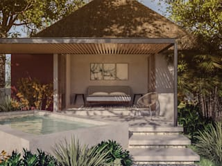 Heftye Arquitectura Giardino con piscina Arenaria Beige