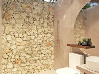 Heftye Arquitectura Rustic style bathroom Limestone Beige