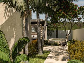 Heftye Arquitectura Ingresso, Corridoio & Scale in stile tropicale Arenaria Beige