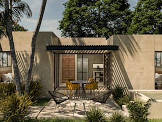 Heftye Arquitectura Tropical style balcony, porch & terrace Sandstone Beige