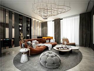 Combining Modernity & Luxury Design Singapore Carpentry Interior Design Pte Ltd Modern living room Wood Grey