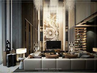 Combining Modernity & Luxury Design Singapore Carpentry Interior Design Pte Ltd Modern living room Marble Amber/Gold