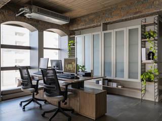DESIGNER'S CIRCLE Ruang Studi/Kantor Modern Batu Beige