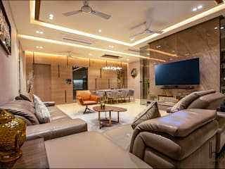 Runwal Greens - Mulund W (4bhk 2000 sq.ft c.a) Hinge architects Modern living room Marble Beige
