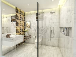 Corpuz Interior Design Modern bathroom Marble White