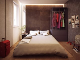 Arch+ Studio Modern style bedroom Tiles Brown