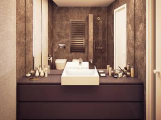 Arch+ Studio Baños de estilo moderno Azulejos Marrón
