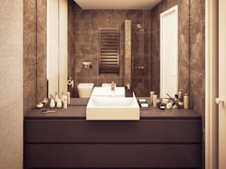 Arch+ Studio Modern bathroom ٹائلیں Brown