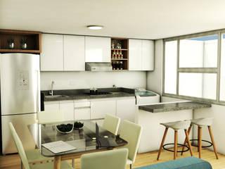 REMODELACION APARTAMENTO 60M2 KENNEDY (BOGOTÁ) Plano 13 Cocinas integrales Aglomerado Blanco