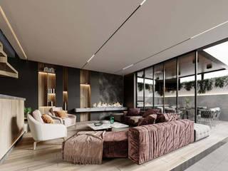 Rebora Arquitectos Modern living room Ceramic Black