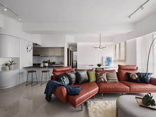 線代序曲 趙玲室內設計 现代客厅設計點子、靈感 & 圖片