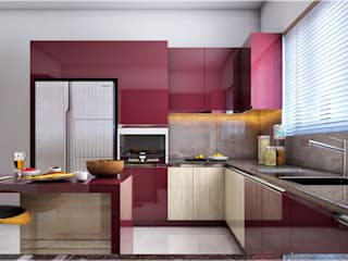 Monnaie Interiors Pvt Ltd ห้องครัวเครื่องใช้ในครัว ไม้ Wood effect