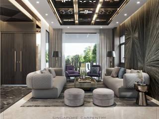Ultra-Chic & Modern Comfort @ Lichi Avenue Singapore Carpentry Interior Design Pte Ltd Modern living room Marble White