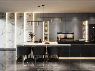Singapore Carpentry Interior Design Pte Ltd Modern dining room Marble Metallic/Silver