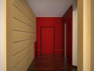 melania de masi architetto Ausgefallener Flur, Diele & Treppenhaus Holz Rot