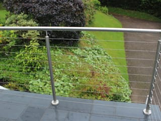 Wire Rope Balustrade in Dudley Origin Architectural ระเบียง เหล็ก Transparent