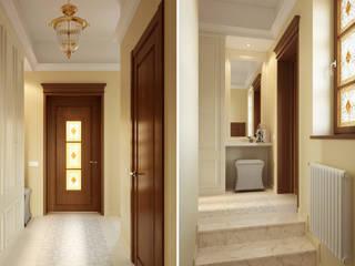 Студия дизайна интерьера 'Золотое сечение' Classic corridor, hallway & stairs Brown