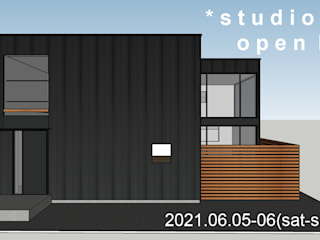 *studio LOOP 建築設計事務所 Wooden houses Metal Black