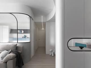 U museum 知域設計 斯堪的納維亞風格的走廊,走廊和樓梯 OSB White