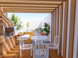 Diseño de Interiores - Casa unifamiliar. Luciane Gesualdi   arquitectura y diseño Balcones y terrazas de estilo moderno Madera Blanco