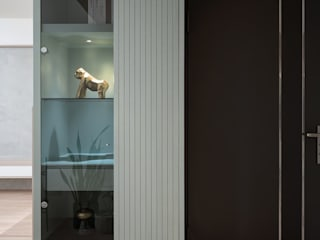 合禾 知域設計 斯堪的納維亞風格的走廊,走廊和樓梯 OSB Wood effect