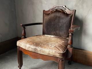 silla madera y piel de vaca illytorres Living roomAccessories & decoration Leather Brown